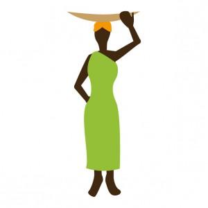 頭の上に物を載せる女性