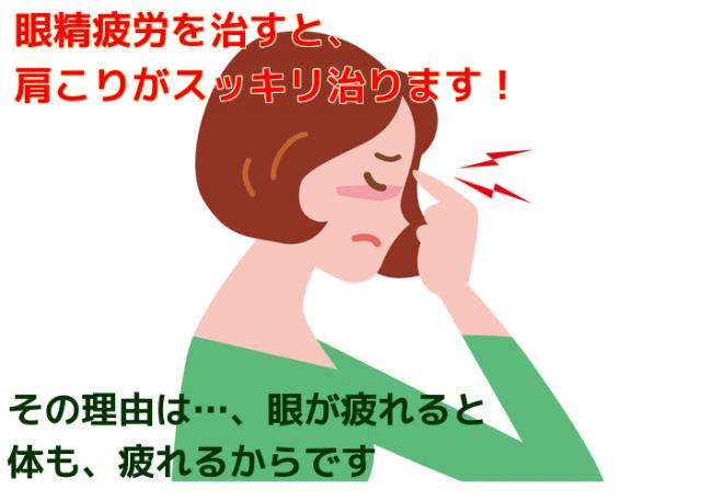 眼精疲労を良くすると、肩こりがスッキリ根本改善します。その理由は・、眼が疲れると体も疲れるからです