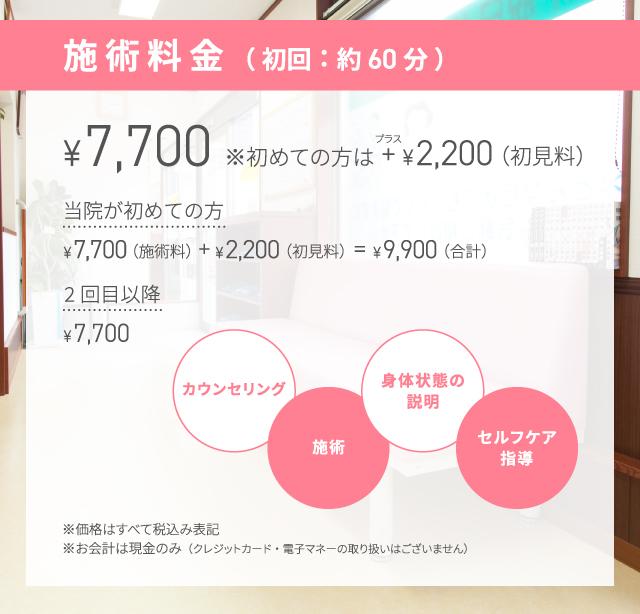 初見料2200円+施術料7700円【2回目以降:7700円】
